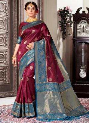 Wedding Wear Wine Weaving Banarasi Silk Saree