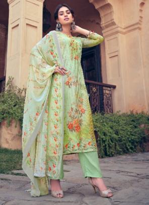 Festival Wear Sea Green Digital Printed Muslin Palazzo Suit