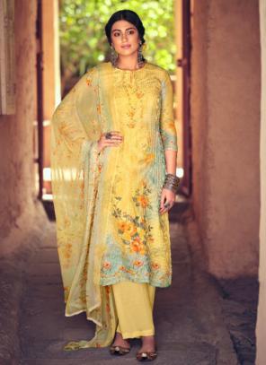 Festival Wear Yellow Digital Printed Muslin Palazzo Suit