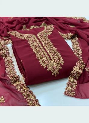 Festival Wear Wine Embroidery Work Georgette Dress Material