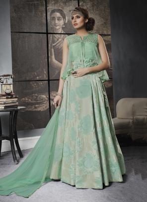 Reception Wear Green Sequins Work Jacqaurd Lehenga Choli