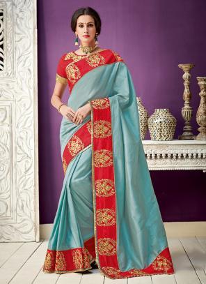 Wedding Wear Sky Blue Border Work Silk Saree