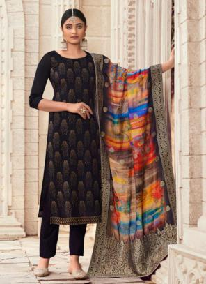 Traditional Wear Black Swarovski Work Pure Silk Straight Suit