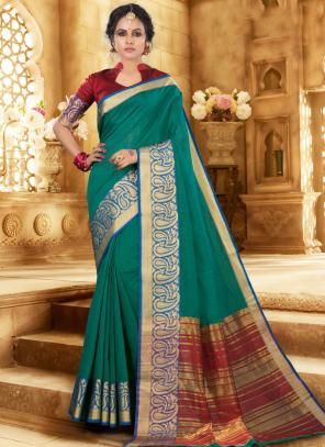 Festival Wear Green Handloom Khadi Silk Saree