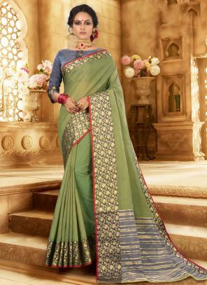 Festival Wear Light Green Handloom Khadi Silk Saree