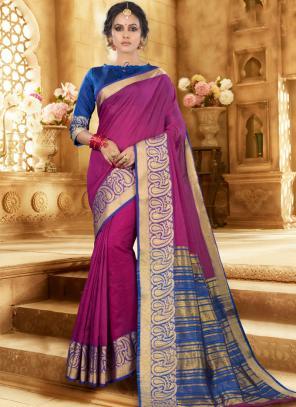 Festival Wear Purple Handloom Khadi Silk Saree