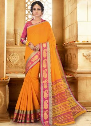 Festival Wear Yellow Handloom Khadi Silk Saree