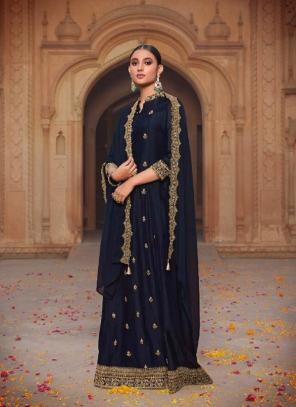 Party Wear Navy Blue Khatli Work Russian Silk Gown With Dupatta