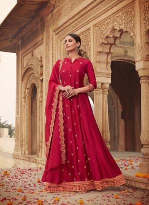 Party Wear Rani Khatli Work Russian Silk Gown With Dupatta