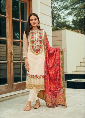 Festival Wear Cream Embroidery Work Pure Net Straight Suit
