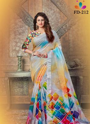 Festival Wear Multi Color Digital Printed Linen Saree