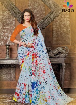 Casual Wear Blue Digital Printed Pure Cotton Saree