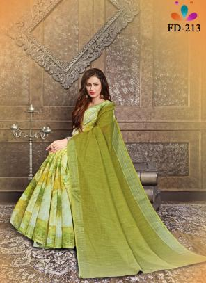 Casual Wear Olive Green Digital Printed Pure Cotton Saree