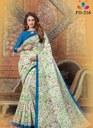 Casual Wear Pista Green Digital Printed Pure Cotton Saree