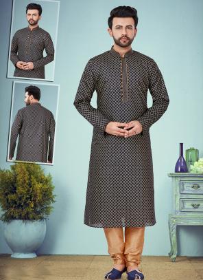 Wedding Wear Black Embroidery Work Cotton Silk Jaquard Kurta Pajama