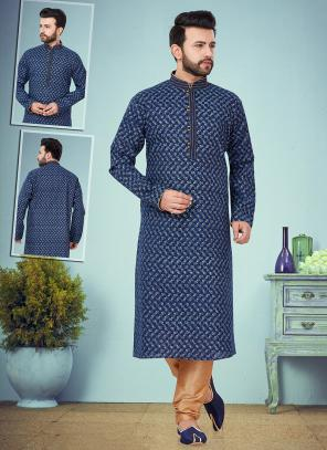Wedding Wear Blue Embroidery Work Printed Cotton Silk Kurta Pajama