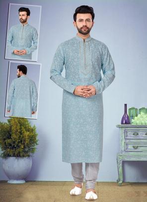 Wedding Wear Light Blue Embroidery Work Printed Cotton Silk Kurta Pajama