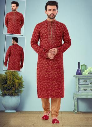 Wedding Wear Maroon Embroidery Work Printed Cotton Silk Kurta Pajama