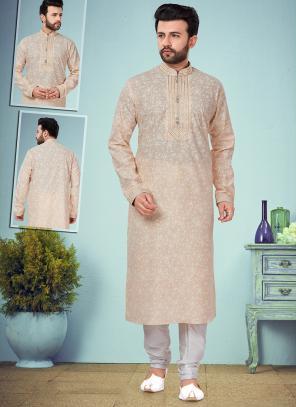 Wedding Wear Peach Embroidery Work Printed Cotton Silk Kurta Pajama