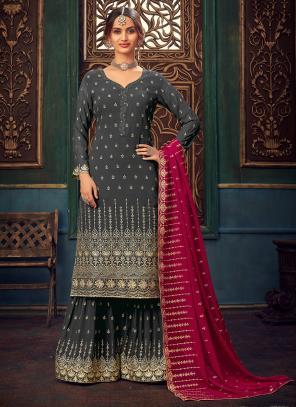 Wedding Wear Dark Grey Hand Work Pure Georgette Sharara Suit