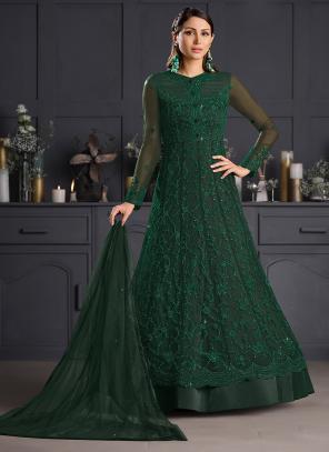 Reception Wear Bottle Green Embroidery Work Net Anarkali Suit