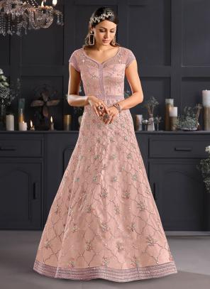 Reception Wear Pink Embroidery Work Net Anarkali Suit