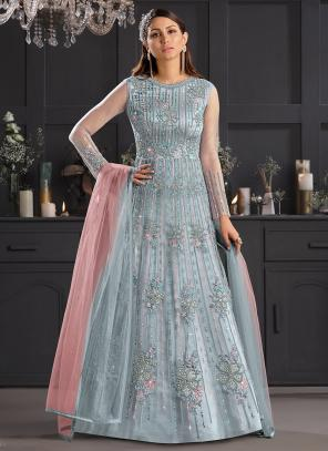 Reception Wear Sky Blue Embroidery Work Net Anarkali Suit