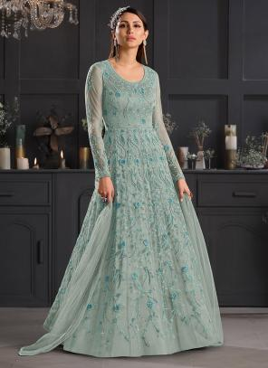 Reception Wear Turquoise Blue Embroidery Work Net Anarkali Suit