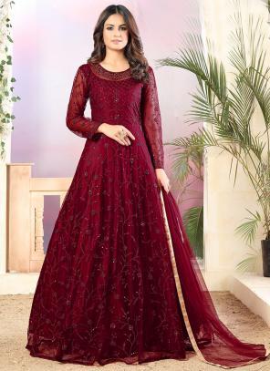 Party Wear Violet Sequins Work Net Anarkali Suit