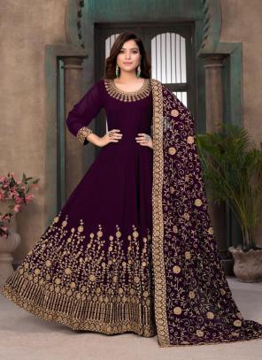 Party Wear Purple Embroidery Work Faux Georgette Anarkali Suit