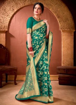 Festival Wear Green Weaving Work Banarasi Silk Saree