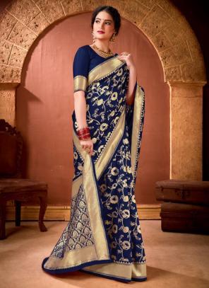 Festival Wear Navy Blue Weaving Work Banarasi Silk Saree