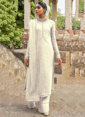 Festival Wear Cream Embroidery Work Georgette Pakistani Suit