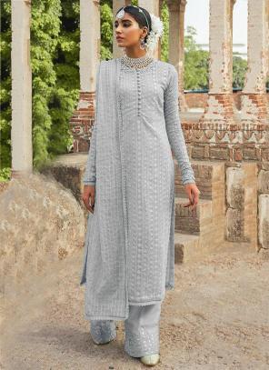 Festival Wear Grey Embroidery Work Georgette Pakistani Suit