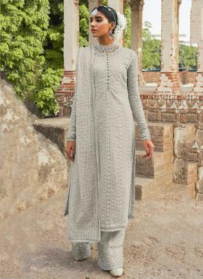 Festival Wear Light Grey Embroidery Work Georgette Pakistani Suit