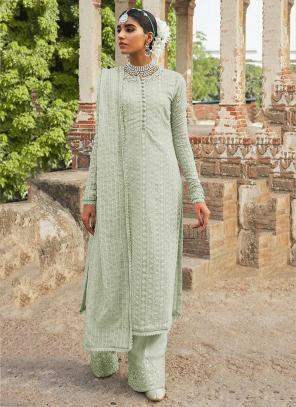 Festival Wear Pista Green Embroidery Work Georgette Pakistani Suit