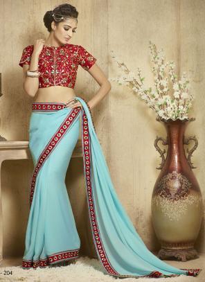 Transcendent Blue Lace Border Work Diwali Special Designer Saree