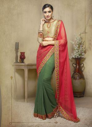 Beauteous Multi Colour Lace Border Work Diwali Special Designer Saree
