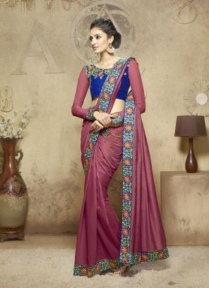 Lovable Pink Lace Border Work Diwali Special Designer Saree