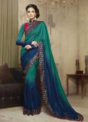 Graceful Multi Colour Lace Border Work Diwali Special Designer Saree