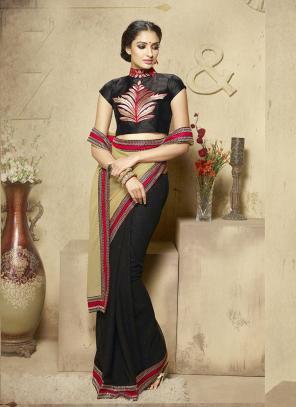 Sensational Black Lace Border Work Diwali Special Designer Saree