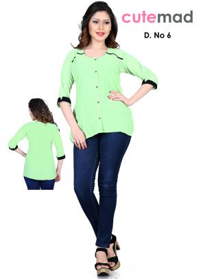 Gripping Green Georgette Diwali Special Printed Top Sws