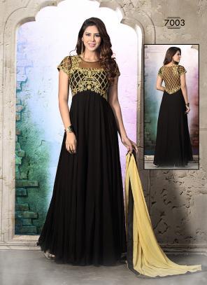 Lively Black Hand Work Anarkali Suit