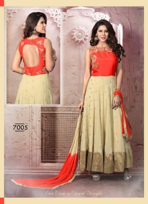 Glowing Beige Hand Work Anarkali Suit