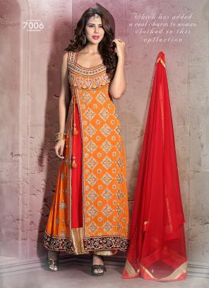 Epitome Orange Hand Work Anarkali Suit