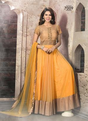 Degnified Yellow Hand Work Anarkali Suit