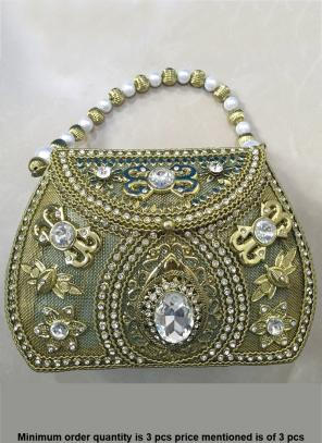 Designer Golden Clutch Bag With Diamod Work