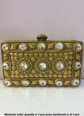 Designer Golden Metal Purses And Clutch Bag