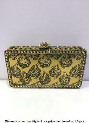 Excquisite Designer Metal Clutch Bag With Kundan Work