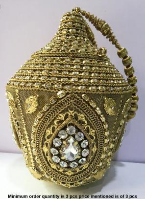 Funky Metal Clutch Bag With Diamond Kundan Work